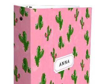 Cute 3 Ring Binder: Cactus Print