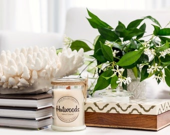 FRESH COFFEE   Small 30+ Hour Burn Soy Wax Candle   Crackling Wood Wick   Hand poured   Hutwoods