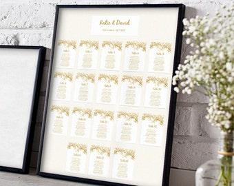 Hochzeit, Sitz Karte Vorlagen, DIY Sitzordnung, jede Farbe Blätter | Sofortiger Download | In WORD oder Seiten bearbeitet werden
