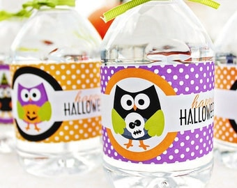ON SALE Halloween Hoot Printable Water Bottle Wrapper, Halloween Party Bottle Label, Instant Download, Halloween Party Printable Wrappers