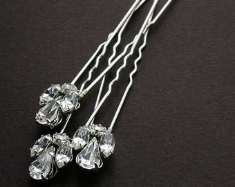 Set of 3 or 5 classic crystal rhinestone bridal hairpins, wedding hairpins, crystals hairpins