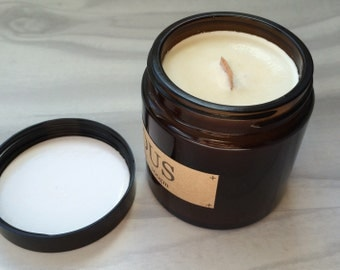 Patchouli - Hand Poured Soy Aromatherapy Candle - Wooden Wick- Small Batch Natural