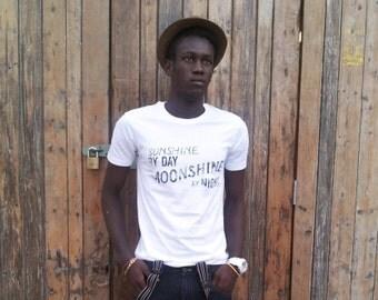 SALE // Funny Tshirt // mens graphic tshirt// Moonshine // Men's unisex illustrated moonshine t-shirt // White