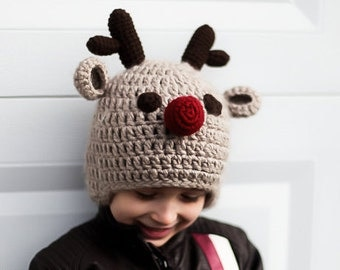 Christmas Hat , Baby Christmas hat, Reindeer Christmas hat, Toddler Christmas Hat - Adult Christmas Hat, Crochet Christmas hat
