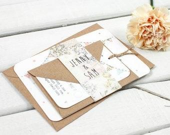 Floral Patchwork Bunting Wedding Invitation Bundle