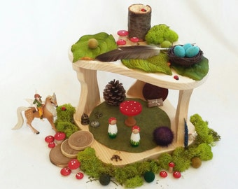 Wood Treehouse Two Tier Play set pretend open-ended storytelling fantasy fairy home woodland imagination Dollhouse unisex preschool toy