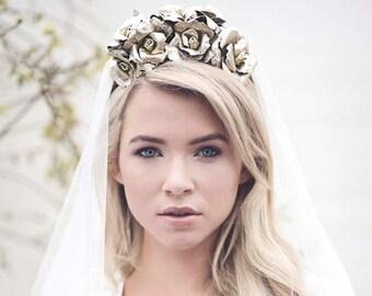 Gold Floral Wedding Crown, Rose Headpiece, Floral Headband, Gold Wedding - Mia
