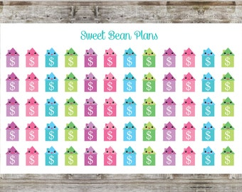 60 Kawaii Rent/Mortgage Bill Due Planner Stickers