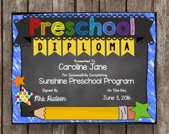 Preschool pre k graduation kids diploma child certificate 50 off sale preschool diploma graduation editable chalkboard printable pdf yadclub Image collections