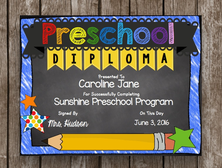 It's just a picture of Current Printable Preschool Diplomas
