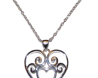 Sterling silver Filigree heart necklace