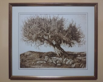 Paper Pyrography. Olive tree