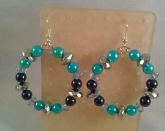 Lightweight Beaded Hoop Earrings, Handmade Earrings, Glass and Acrylic beads