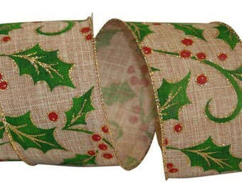"""2 1/2"""" Holly Linen Christmas Ribbon Wire Edge - 10 Yard Roll"""