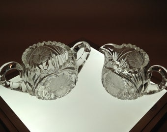 Vintage Cut Crystal Sugar And Creamer Set Circa 1950's