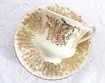 Vintage Paragon Teacup - Yellow Teacup, English Teacup, Light Yellow, DIY teacup, Filigree Teacup, Tea Party Teacup