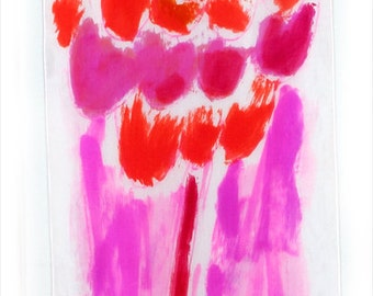 Bright pink scarf hand painted. Abstract painting on silk by Dimo. Summer, long fashion scarf. Luxurious scarves.