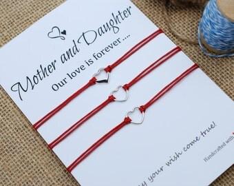 Mother Daughter Bracelets Sterling Silver Heart Charm Love Forever Card Inspirational Gift Wishing Bracelet Mother Daughter Sterling Silver