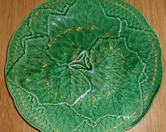 Vintage majolica green leaves plate GIEN, MARKED, deco