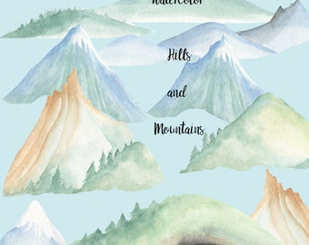 Watercolor mountains and hills clip art, woodland hills, snow peaks, hill with cave, cliffs. Scrapbooking supply, design project supply