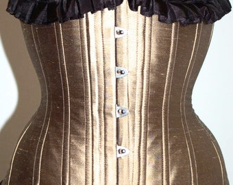 Gold Silk Underbust Corset, Ready to wear.