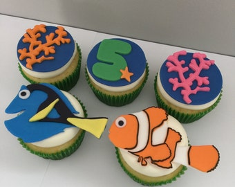 12 Nemo and Dory Inspired Cupcake Toppers-Fondant