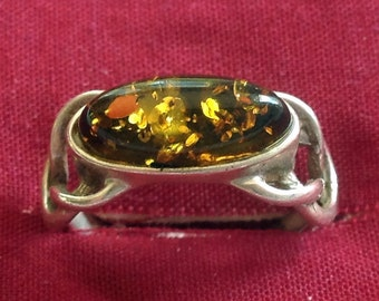 Beautiful Amber set in Sterling Silver Ring