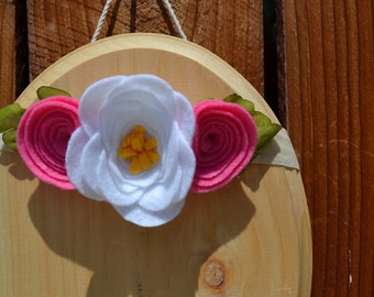 SALE! Pink and white floral headband for baby