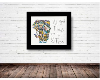 Colorful Abstract Elephant - PRINT