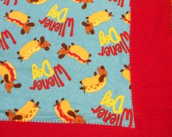 Weiner Dog Flannel Receiving Blanket