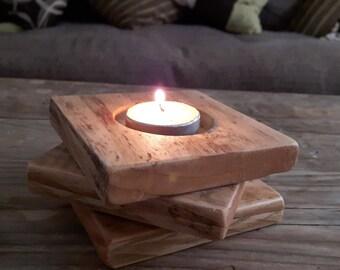 Candle Holder, Tea Light Holder, Rustic Tea Light Holder, Reclaimed Wood Tea Light Holder, Handmade Tea Light Holder