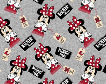 KNIT Fabric: Disney Designed by Minnie Cotton Lycra Knit Fabric Sold by Yard