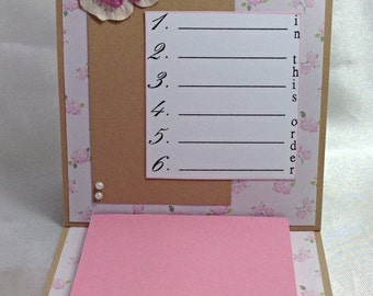 Pink floral Post It Note Holder, Mothers Day gift, teacher gift, handmade gift, gift for friend,  pink flower