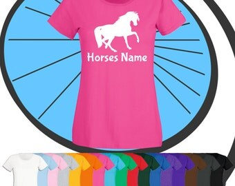 Ladies Custom Printed Horse T Shirt - Riders or Horses Name T-Shirt - Horse Personalised Tshirt - Personalized Equestrian Present