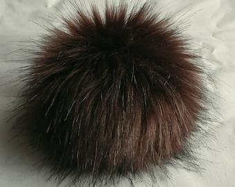 Size XS (dark brown) faux fur pom pom 4 inches/ 10cm