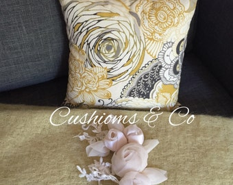 SOLD -Yellow Floral Patterned Cushion,Accent Pillow - 30x 30 cms FREE SHIPPING Aus Wide