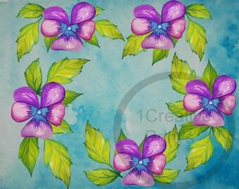 Flower,Wedding,Wall Art, Nursery decor,Print,Hand painted,8x10