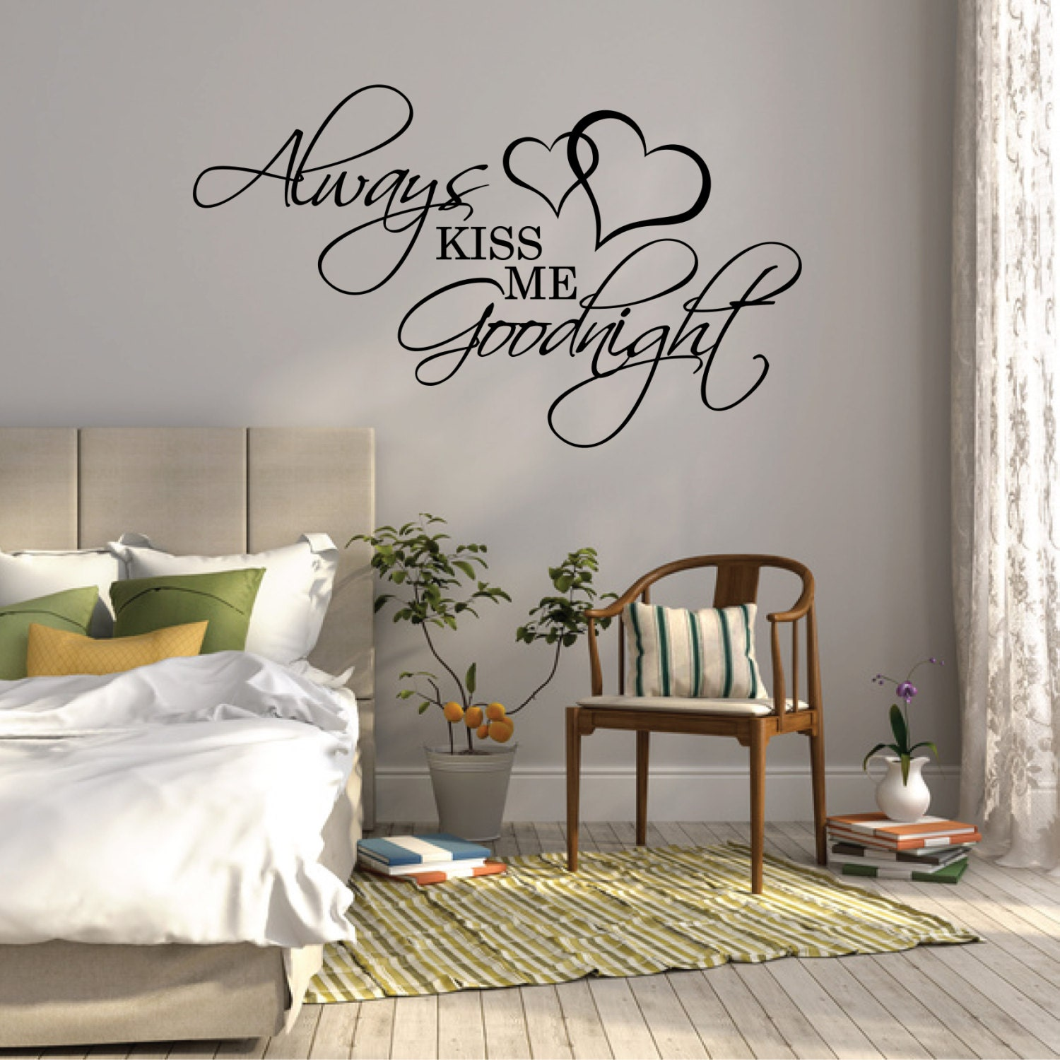 Wall Sticker Quote Always Kiss Me Goodnight Over Bed Wall