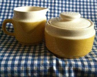 Retro Creamer and Sugar Bowl Set/70's Yellow Creamer and Sugar Set