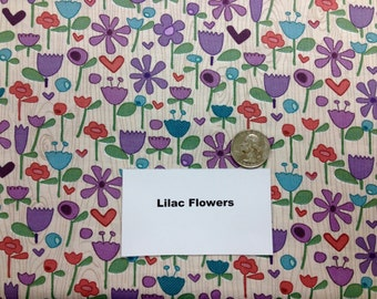 """Lilac Flowers Fabric - 1 and 2/3 Yards (60"""")"""