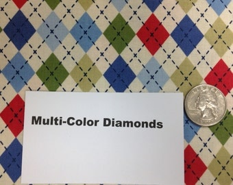 Multi-Color Diamonds Fabric - 38""