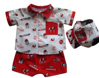 Baby Boy Outfit, Georgia Bulldogs, Infant Baby Outfit, Red White Outfit