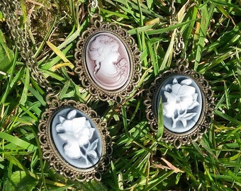 Antique Flowers/Lady Cameo Necklace