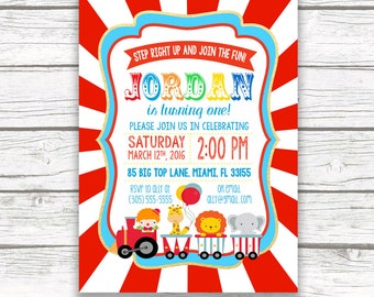 Circus Birthday Invitation, Circus Invitation, Circus Theme Invitation, Carnival Birthday Invitation, First 1st Birthday Party Invitation