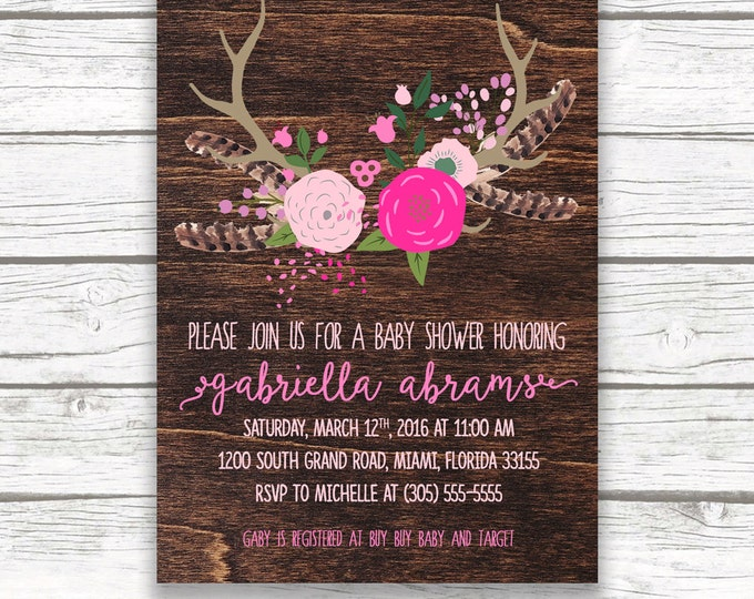 Pink Boho Baby Shower Invitation, Floral Antler Feather Girl Southwestern Boho Invite, Printed or Printable, Matching Back