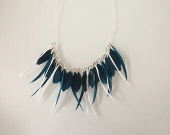 Black feather and silver necklace