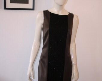 Cocktail dress sequin made in Germany GR 38 Fairtrade brown black glitter minimal shift dress of Shiftdress