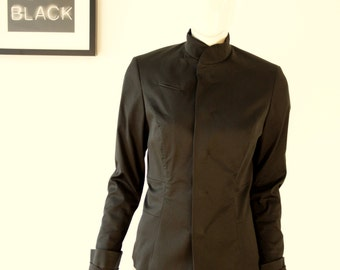 Minimal Blazer black cotton made in Germany GR 40 magnetic buttons classic business