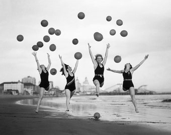 Vintage photo women on beach Coney Island jumping throwing balloons antique photograph wall art PRINT black and white photography-1930s