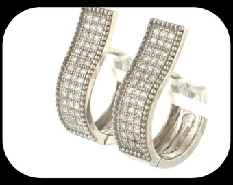925 Sterling Silver Wavy-Design Huggie EARRINGS Pave-Set Cubic Zirconia CZ 3/4""